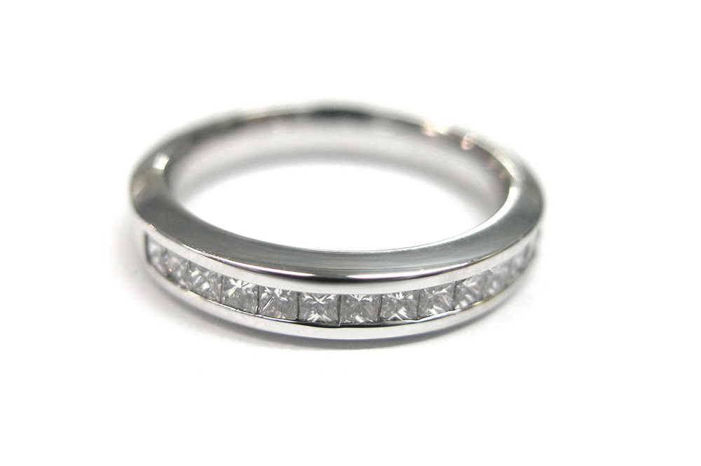 Princess cut wedding band in white gold