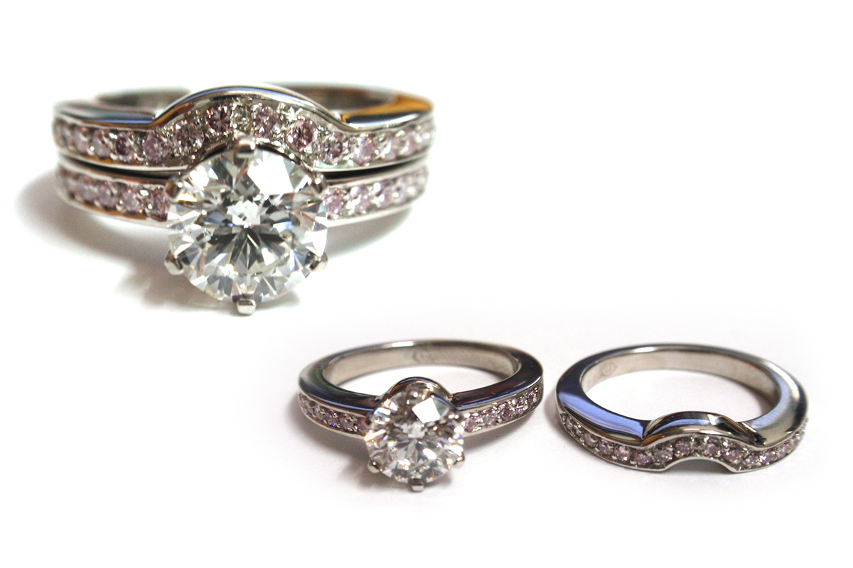 Platinum white and pink diamond set with fitted wedding ring