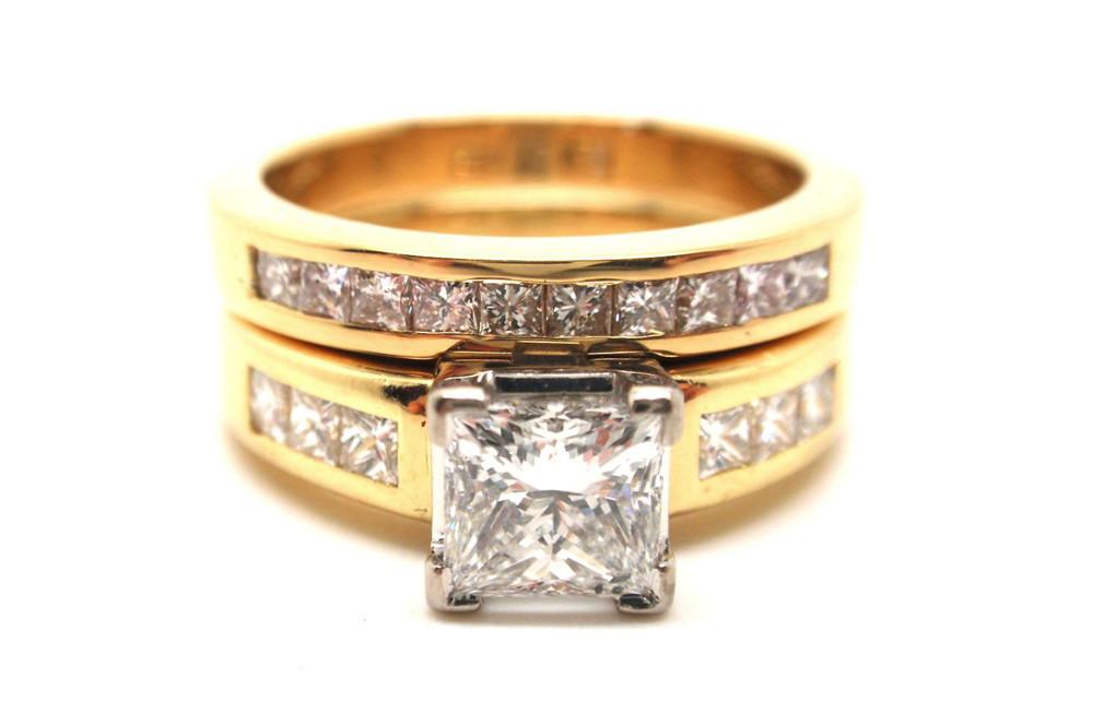 Princess diamond bridal set in yellow and white gold