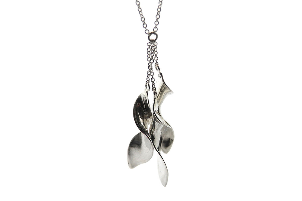 Twisted silver pieces attached to a fine silver chain