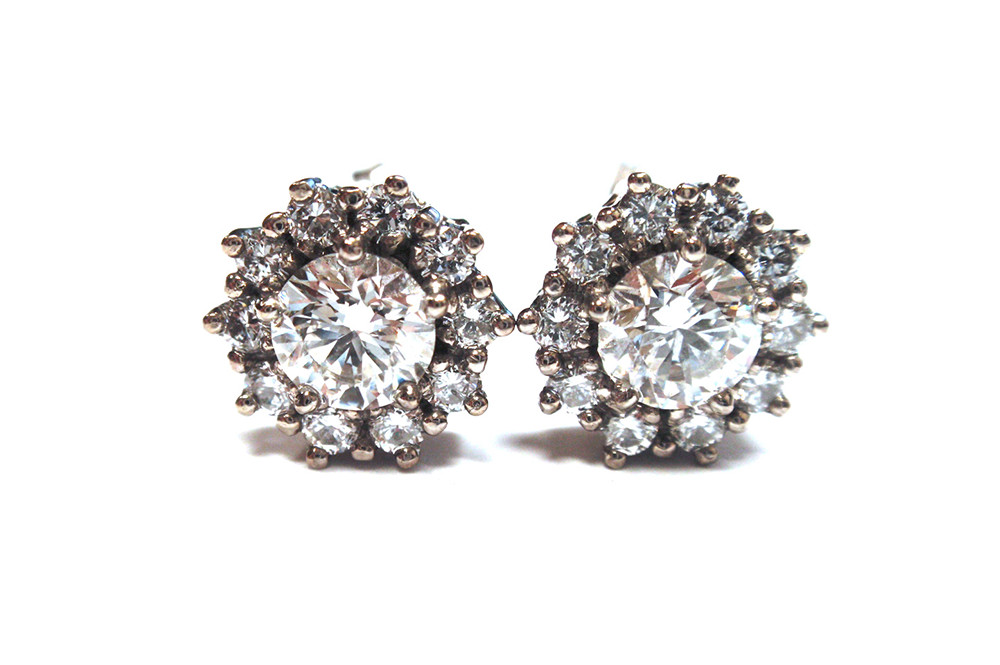 Diamond claw set halo stud earrings