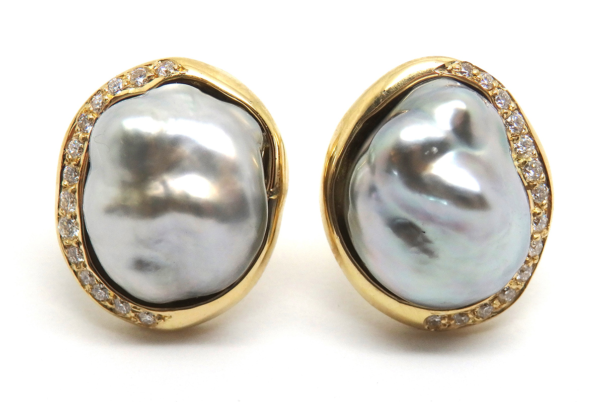 Keisha natural black pearls set with a gold and diamond spray stud earrings