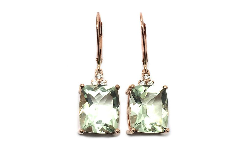 Green quartz and diamond earrings set in rose gold