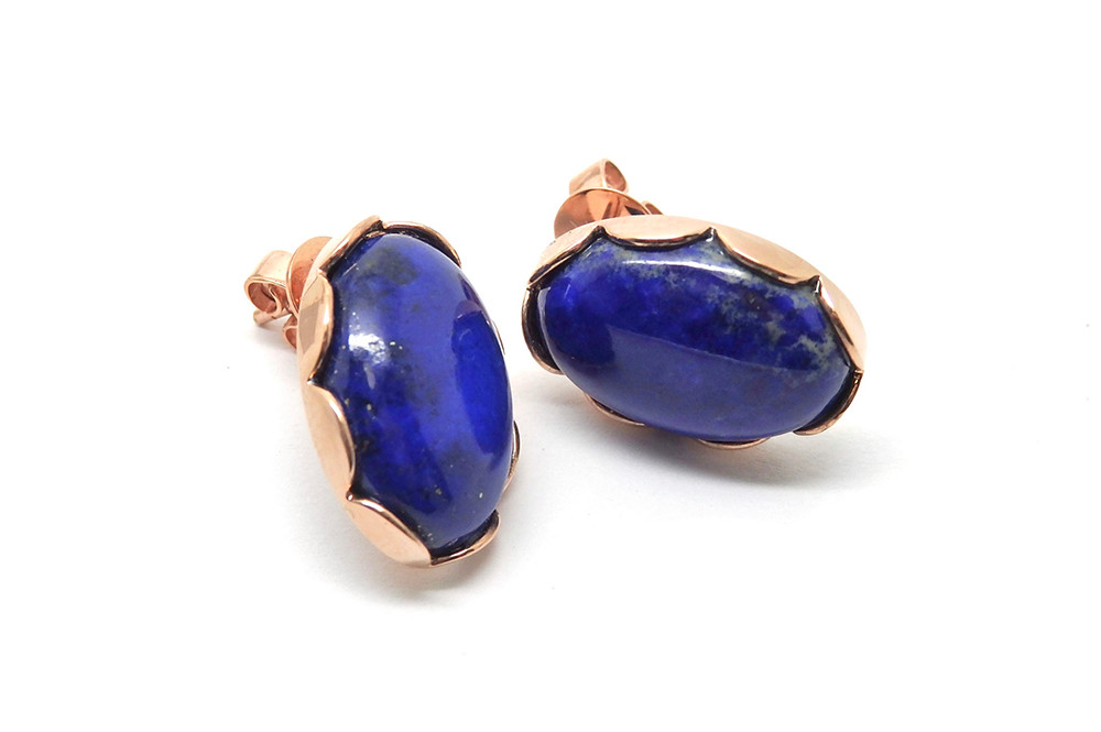 Rose gold scalloped side Lapic lazuli cabochon stud earrings