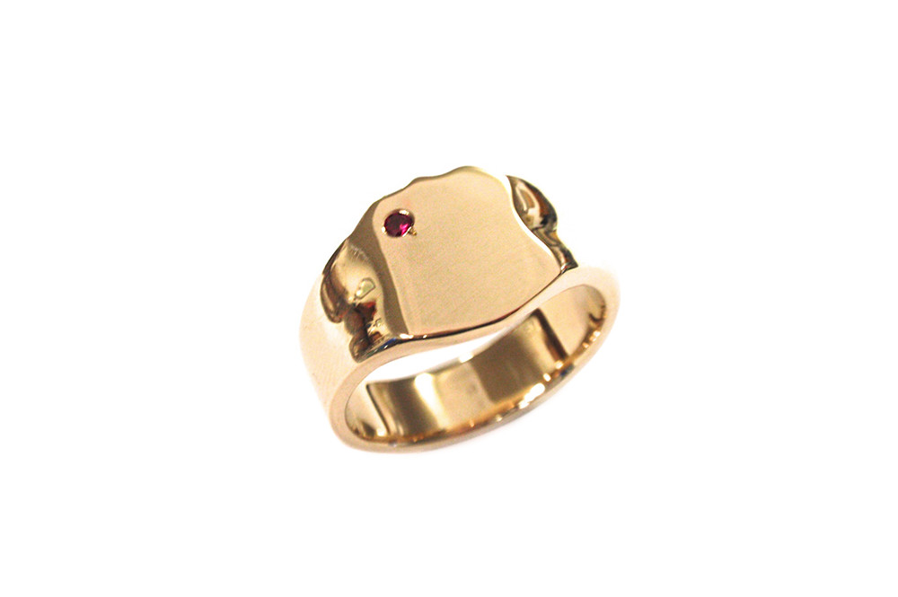 Using customers old gold creating hand carved mens signet ring with ruby