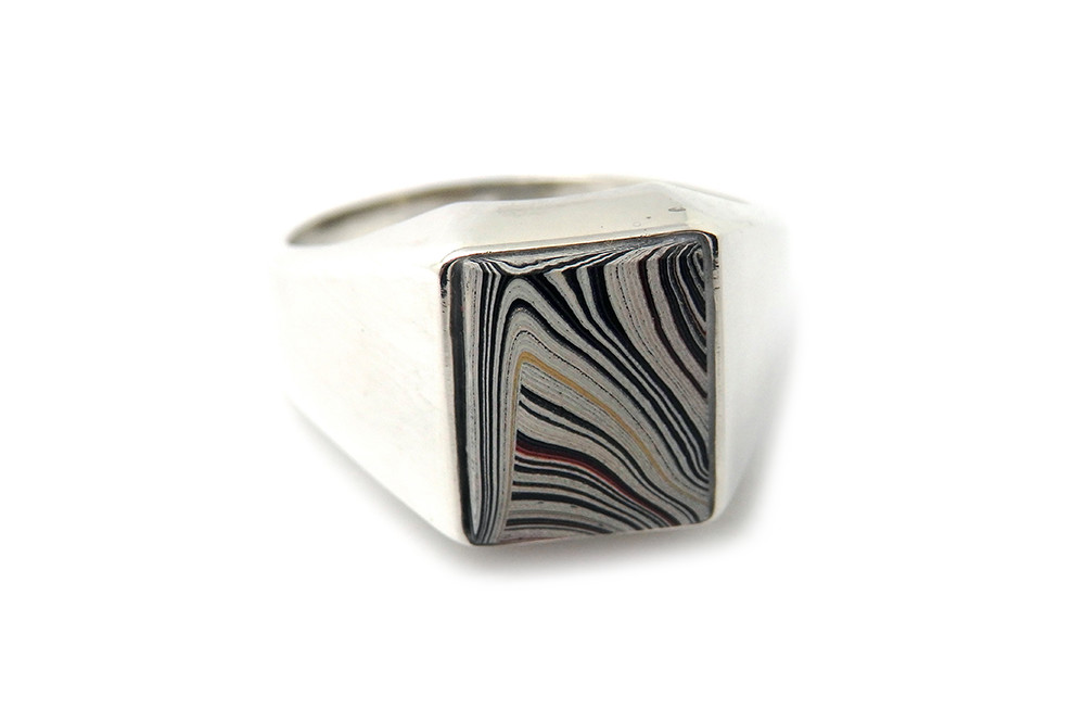 Fordite (built up paint form the ford plant USA) stone set signet ring