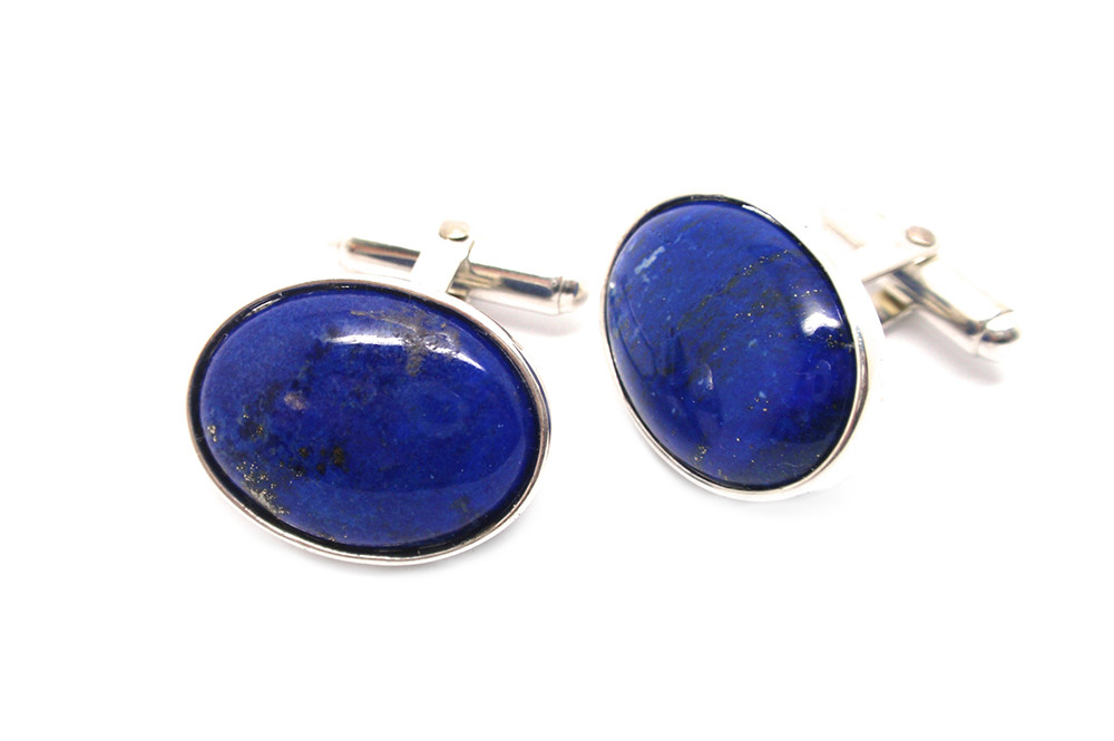 Lapis Lazuli cabochon set in sterling silver cufflinks