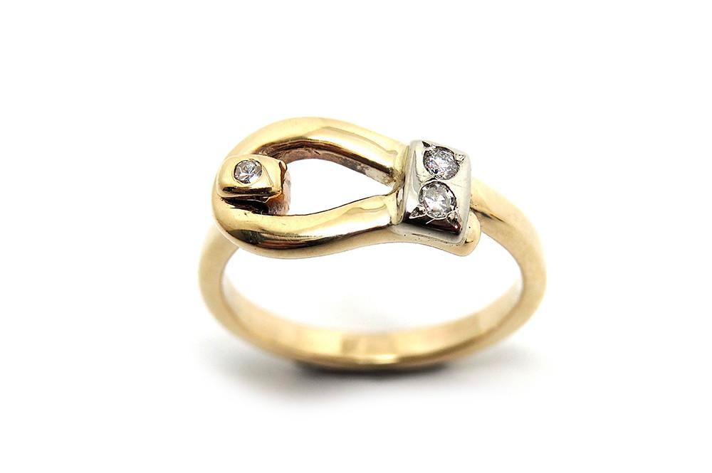 Opening dress ring with diamonds, matching opening bangle