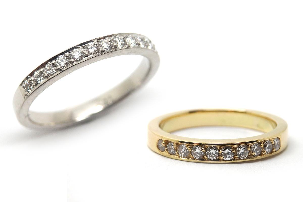 Bead set fine border brilliant cut diamond band
