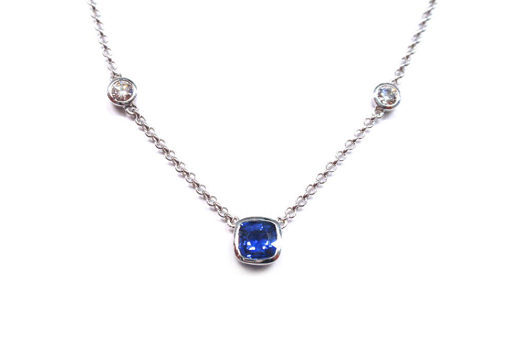 Ceylon sapphire cushion cut and diamond necklace