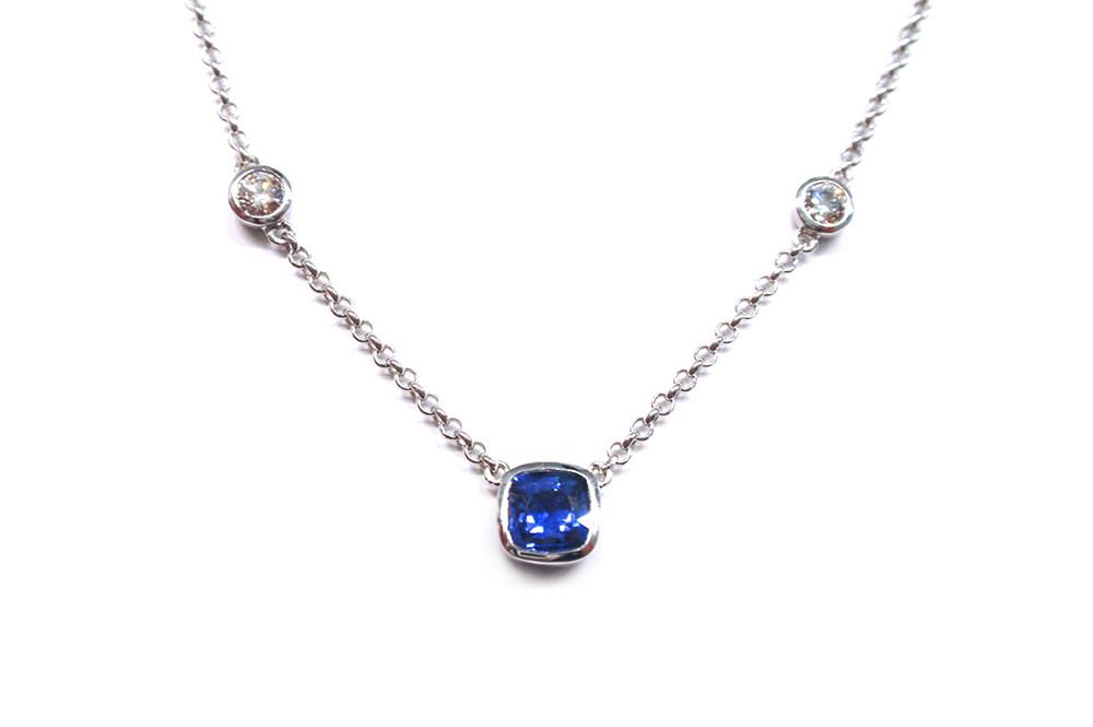 Ceylon sapphire cushion cut and diamond necklace