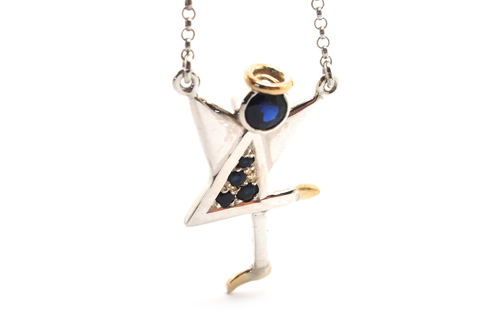 Blue sapphire angle pendant with the number 4 dress