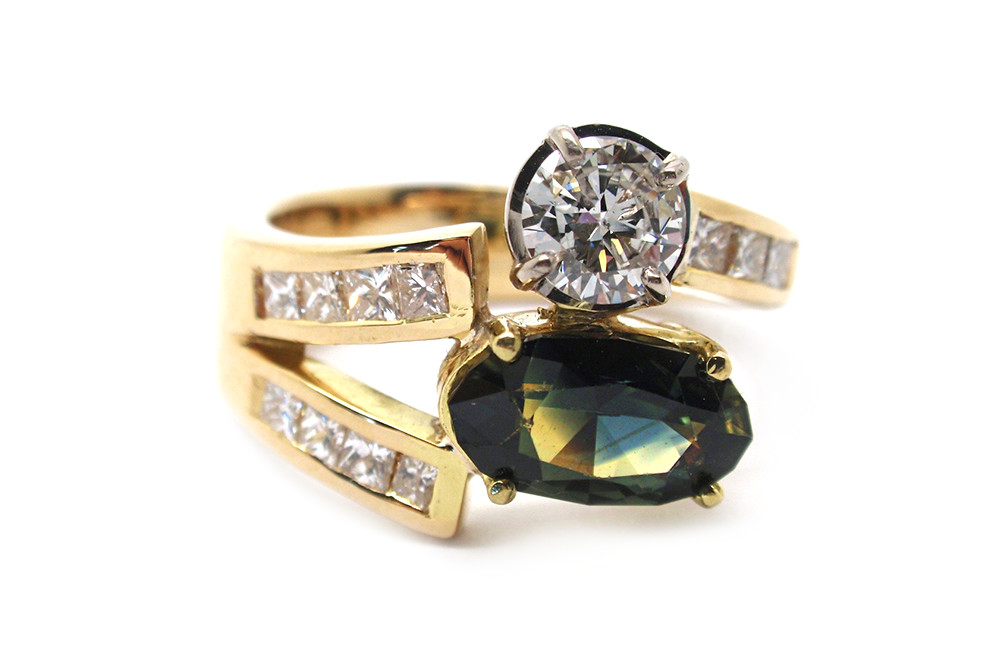 Multi coloured parti sapphire ring with diamonds dress ring