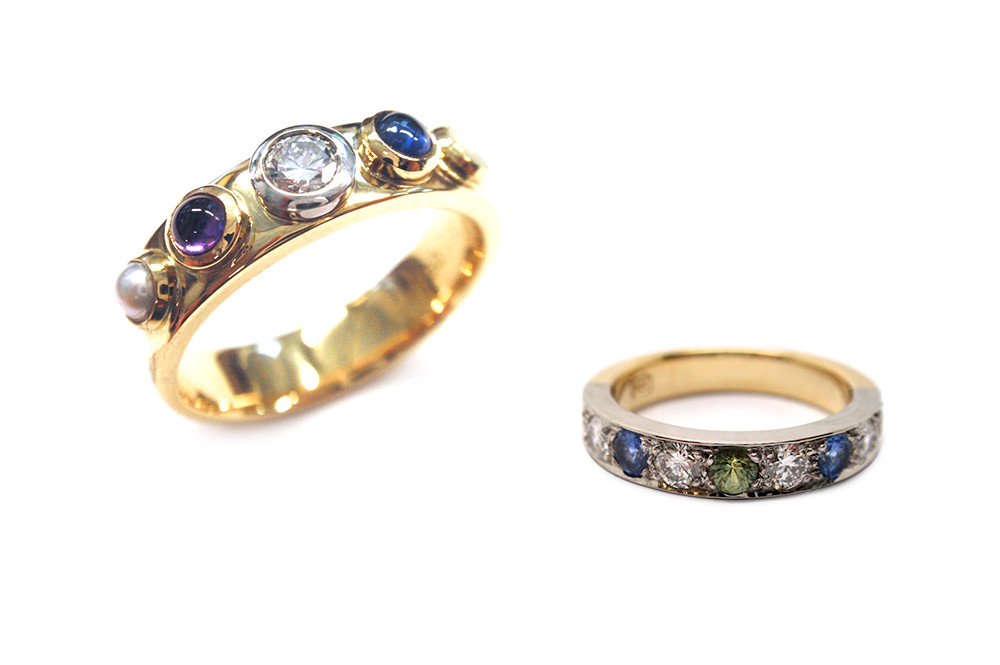 Birthstone rings using the children's birthstones to create a colourful and meaningful piece