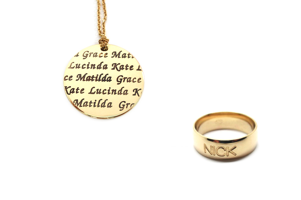 Laser engraved jewellery with the children names evenly placed