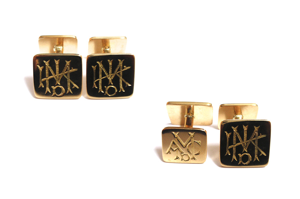 Hand engraved initial cufflinks that includes three generations of initials (son and father on the back)