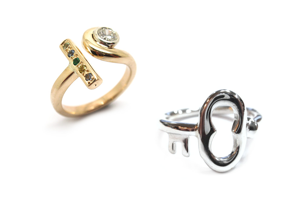 Special occasion rings can be as simple as a bent up key or an initial with a little bit of bling!