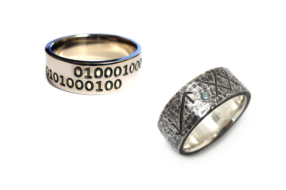 Custom made rings with personal messages for the wearer