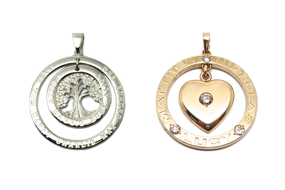 Family pendant with children/family placed around a center family tree or heart