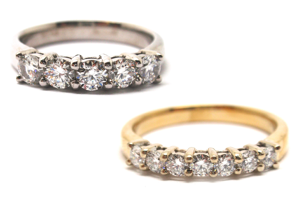 Shared clawed diamond bands