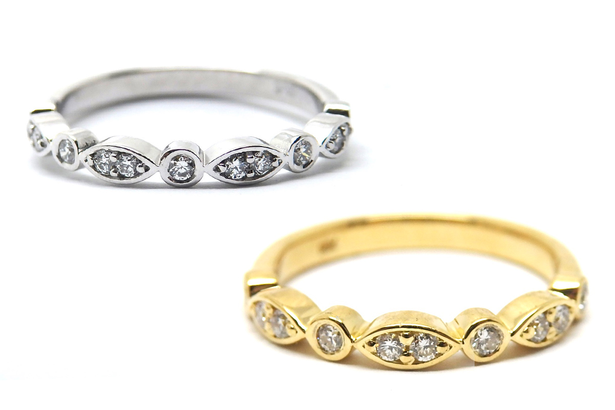 Art deco inspired brilliant cut diamond bands