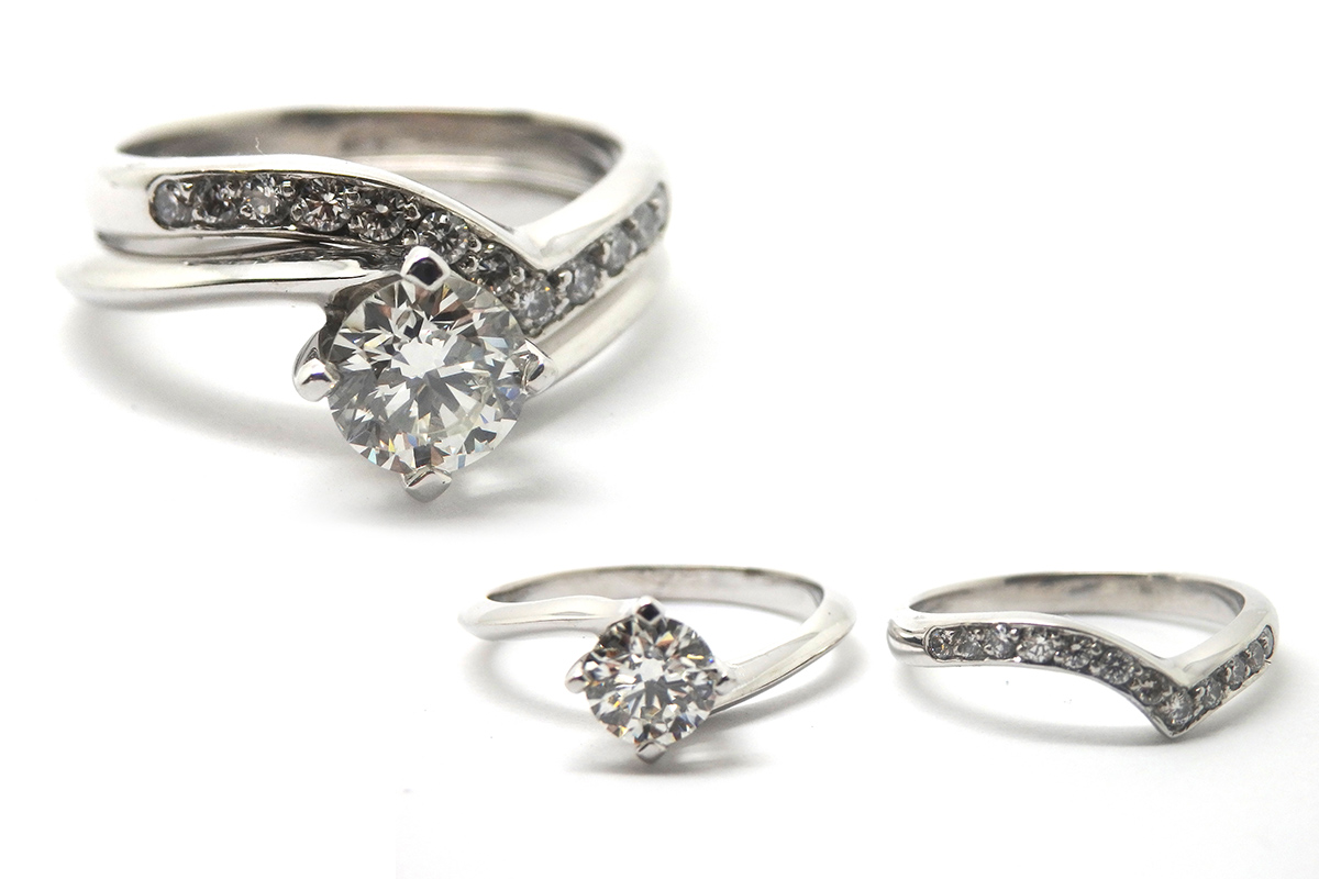 Hand made curved wedding set