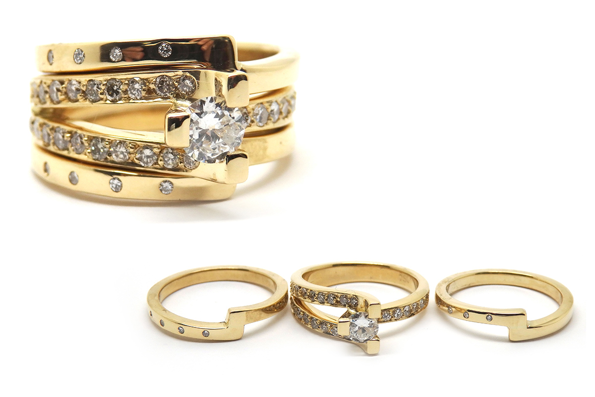 Three piece diamond wedding set