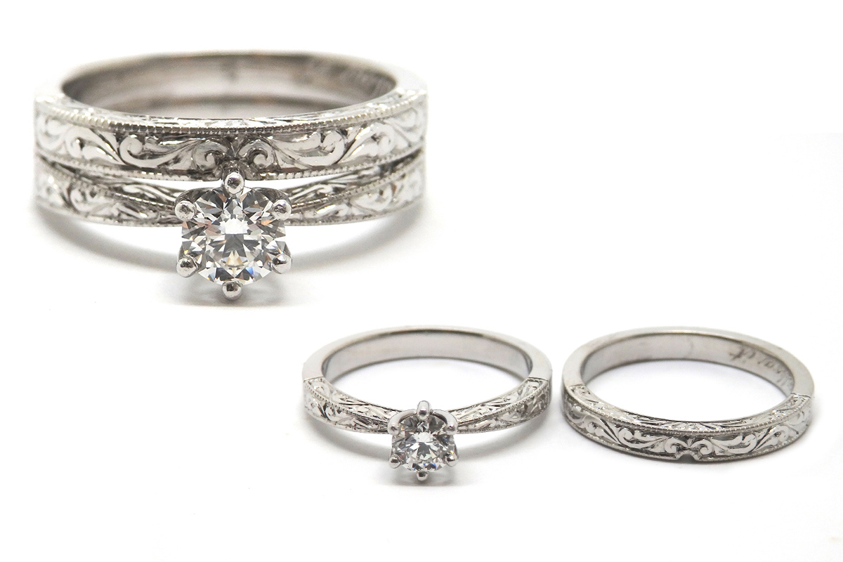 Hand engraved engagement and wedding ring set