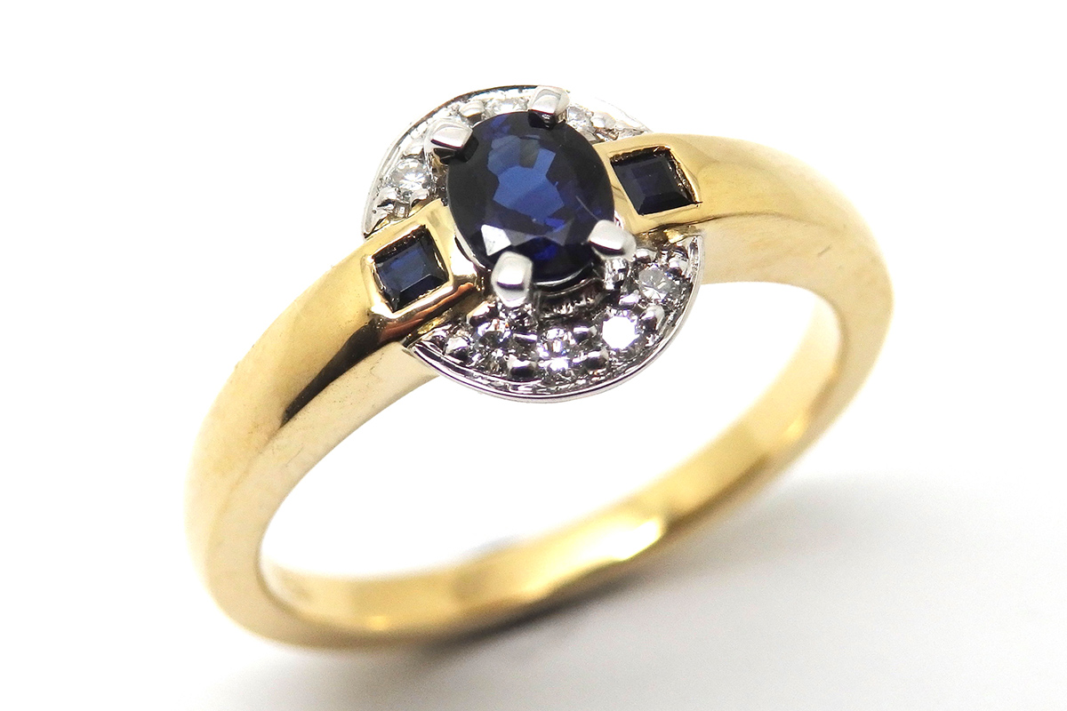 Art deco inspired sapphire and diamond dress ring