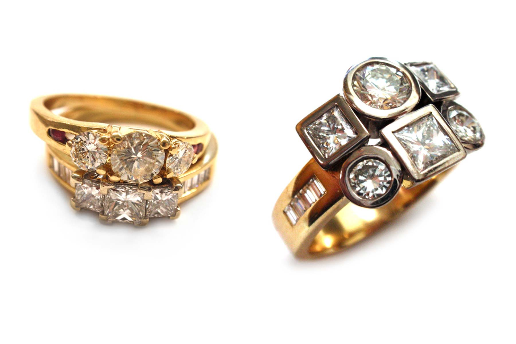 Creating a fresh look for rings that are usually worn together. Alternating the shapes and bezel setting the stones gives the look more of an impact