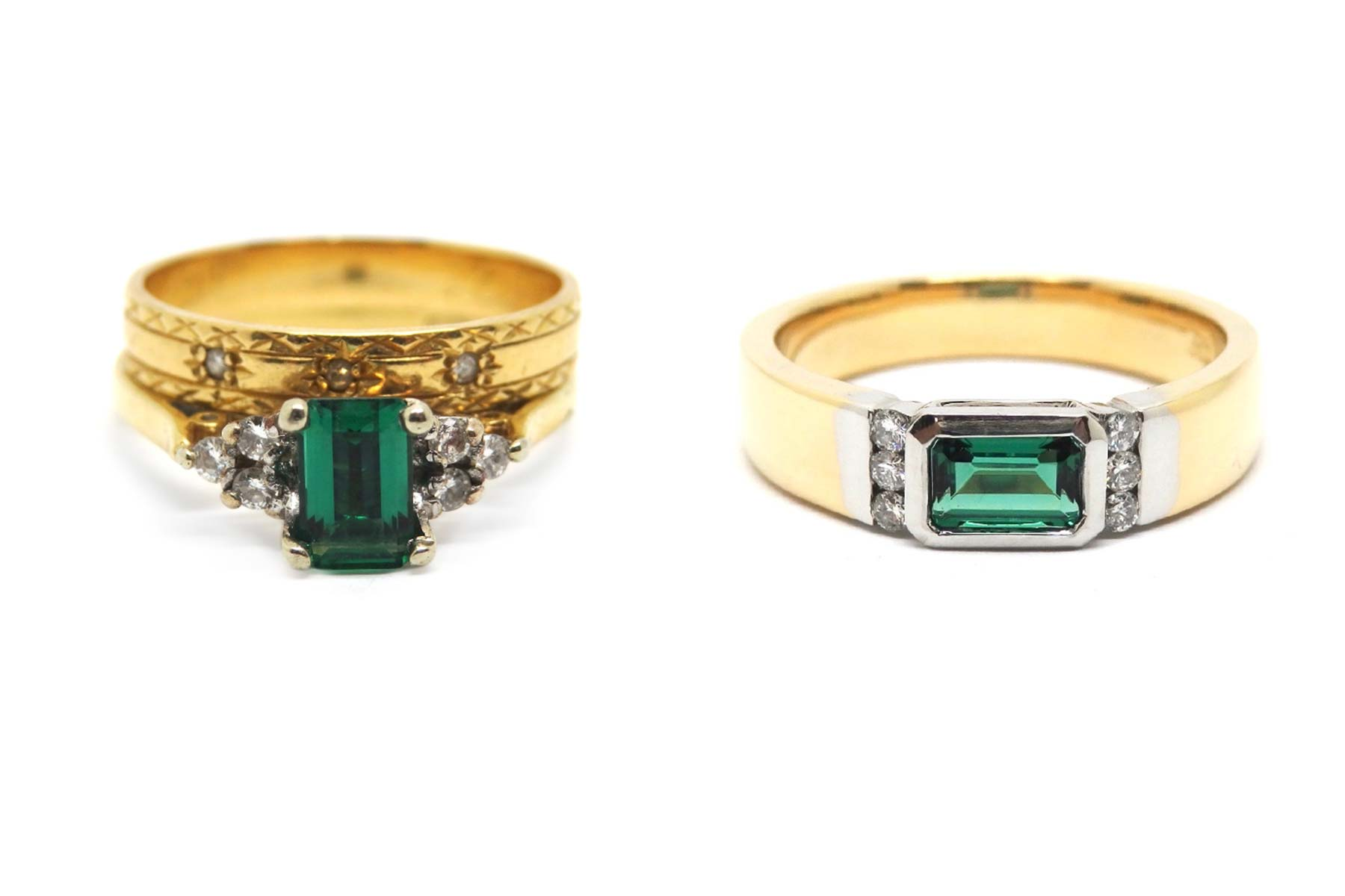Changing the direction of an emerald and adding the diamonds in a channel really updates a tired and dated design
