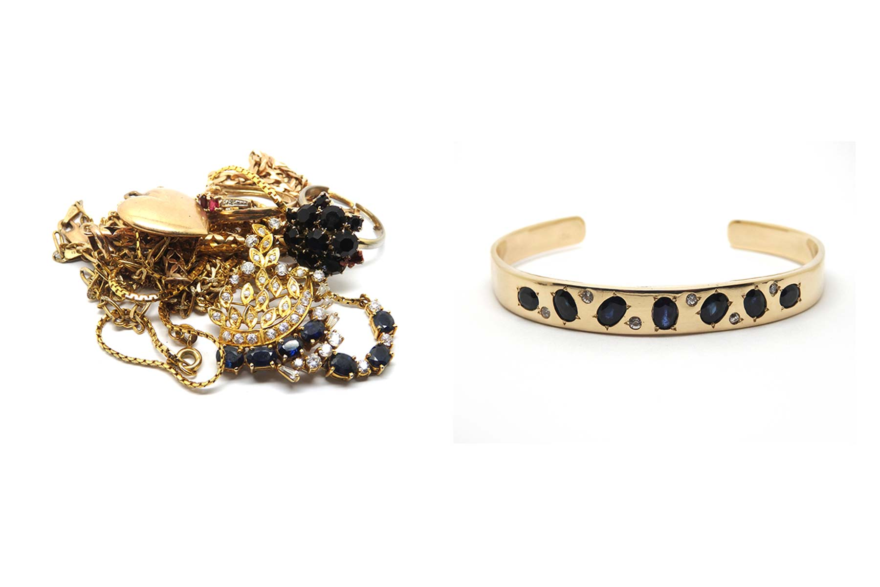 Using the gold, sapphires and clear stones a solid cuff was made and stones set into a random design