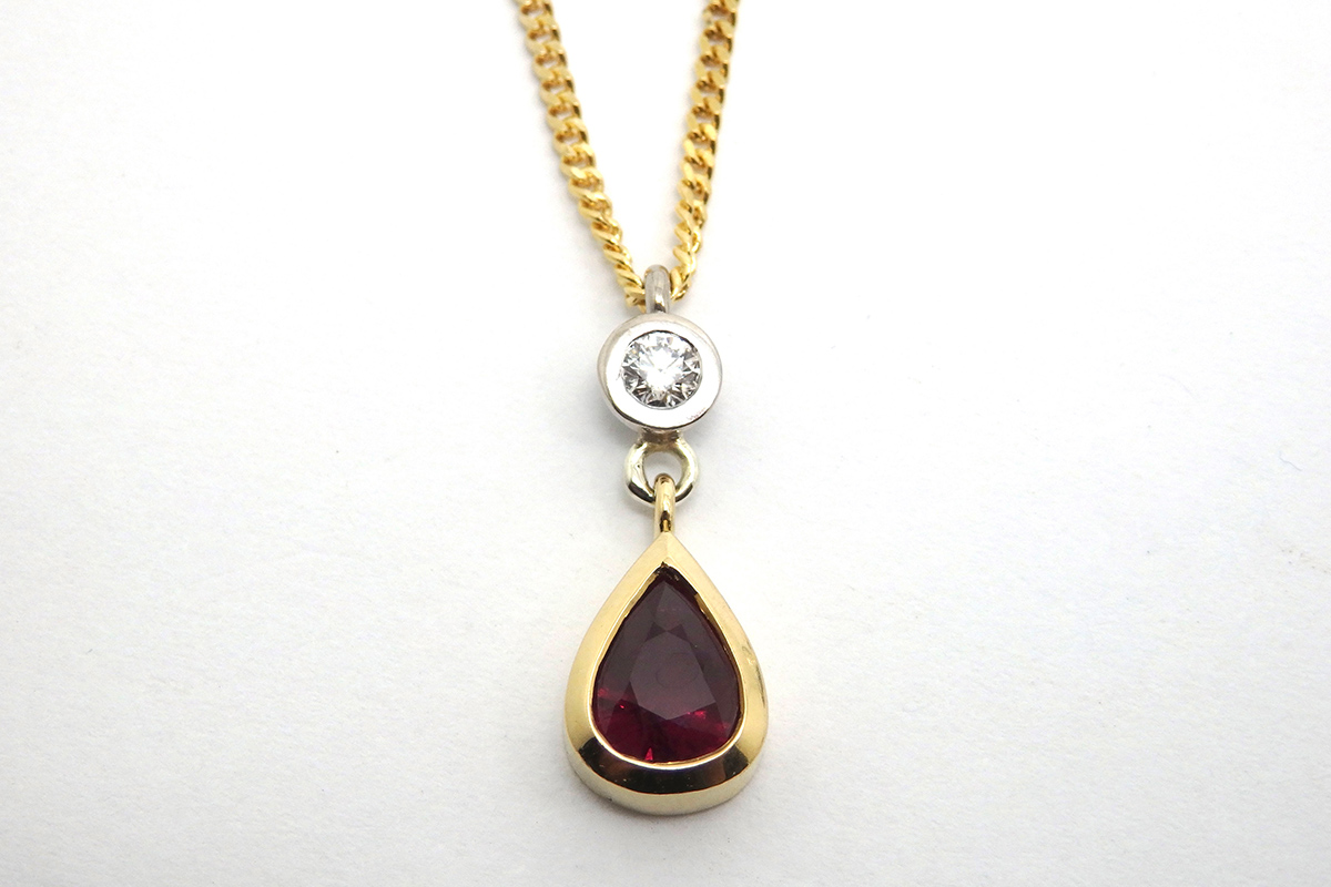 Ruby and diamond drop pendant