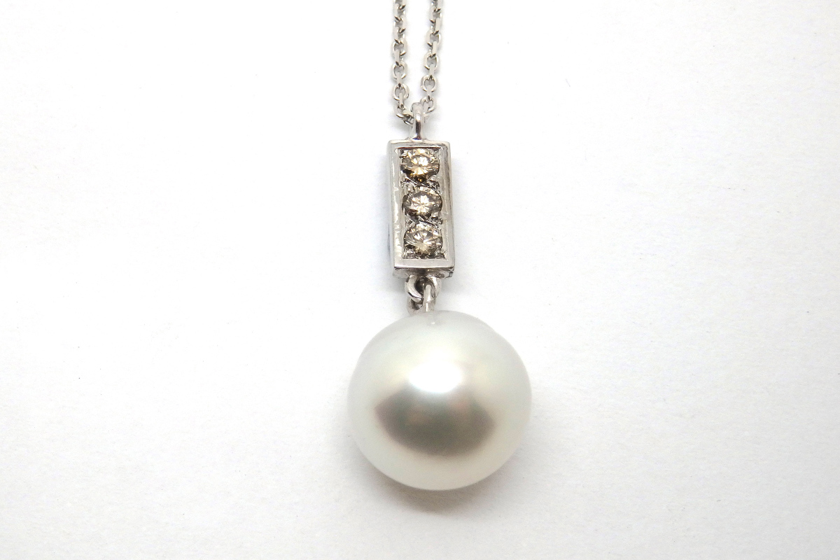 Argyle champagne diamond and south sea pearl drop pendant