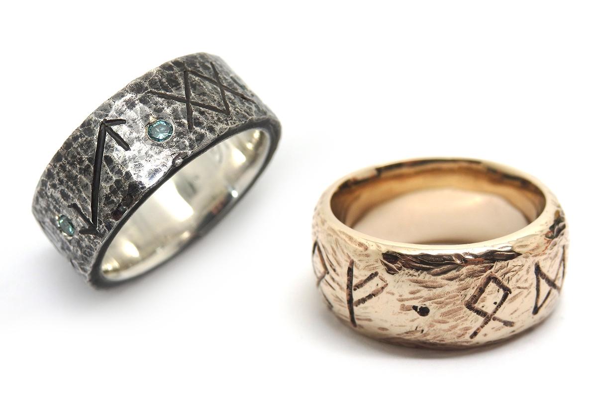 Handmade beaten surfaced bands with custom details