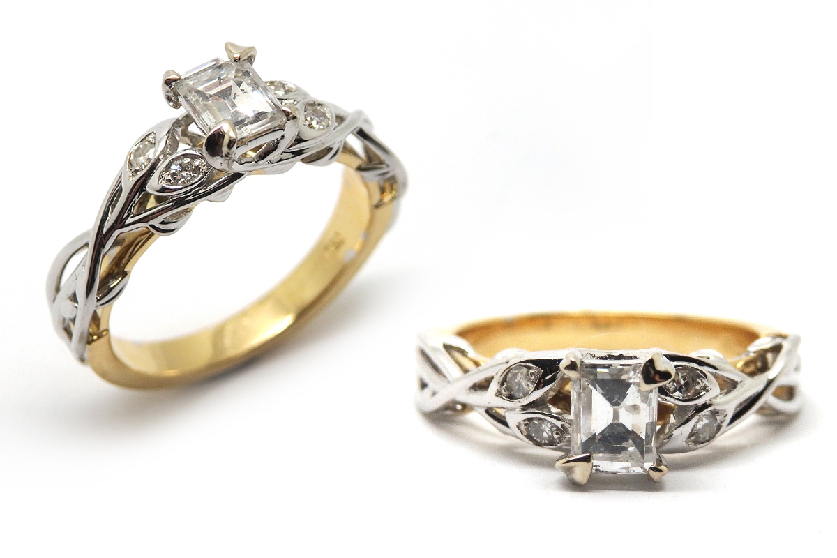Classic look cushion and pear shaped diamond ring