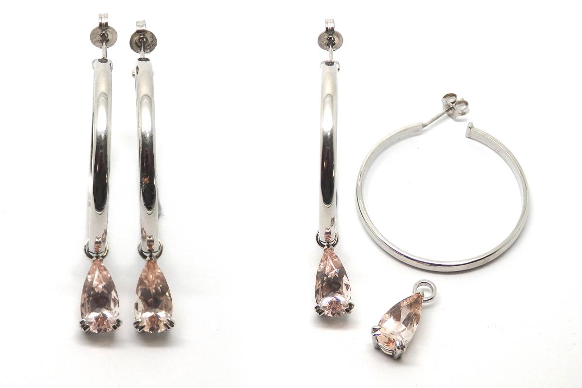 Handmade oversized hoop earrings with detachable Morganite drops