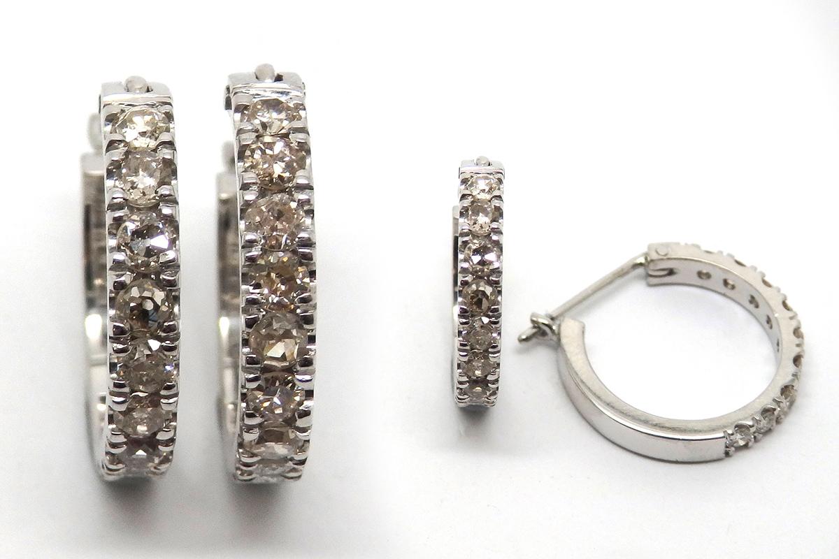 Handmade earrings with old cut diamond bead set