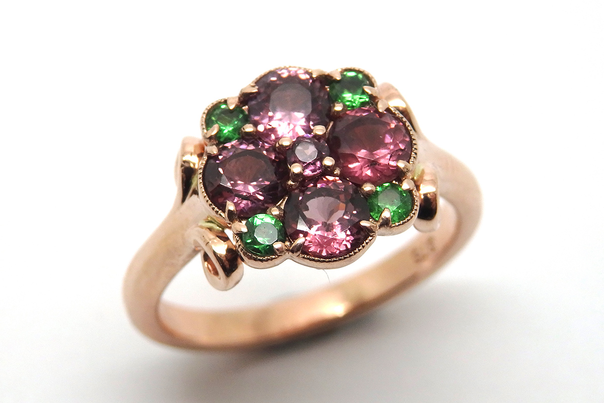 Rhodolite and Tsavorite garnets set in rose gold