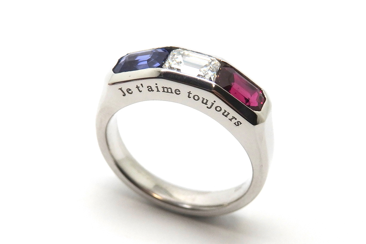 Natural sapphire, diamond and ruby French flag ring with custom message on the side
