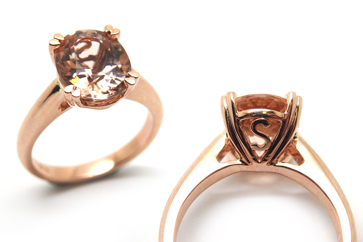 Morganite in rose gold dress ring with side detail