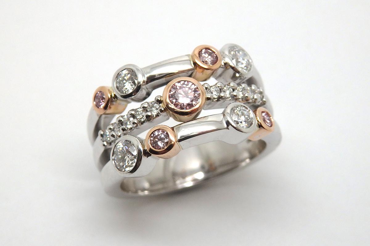Argyle pink and white diamond dress ring