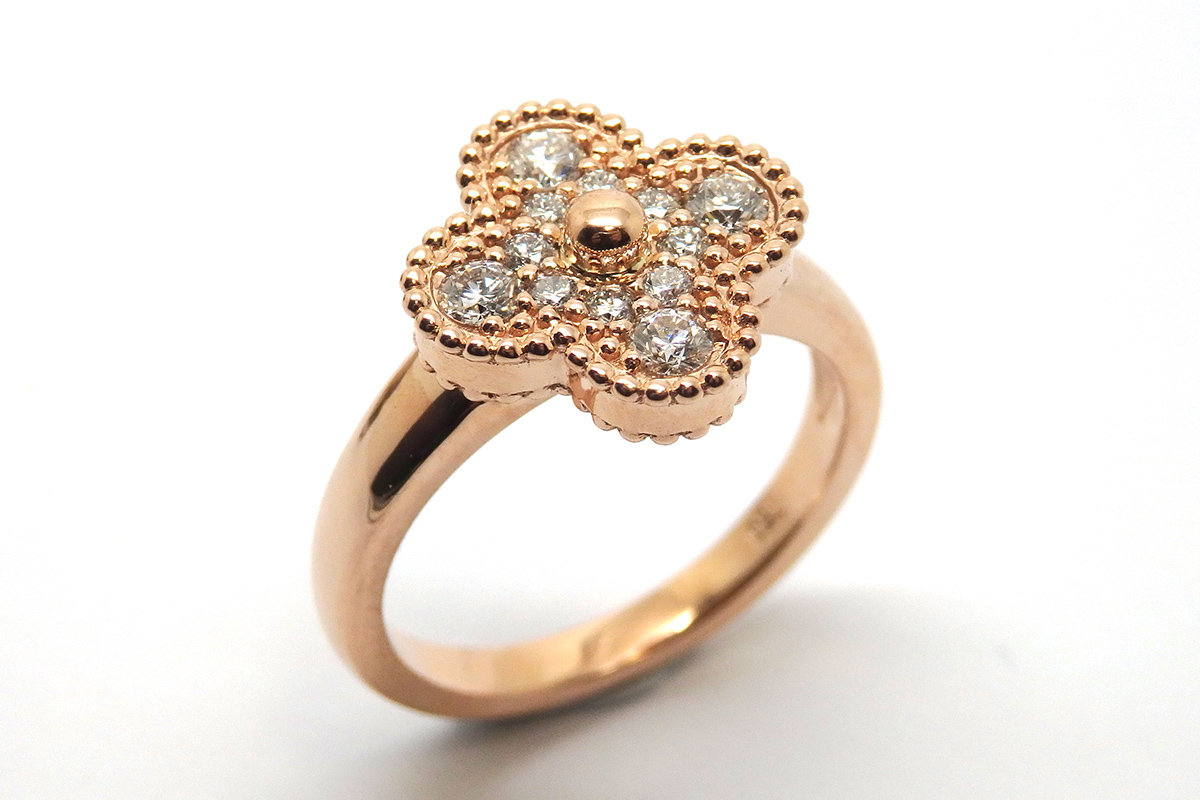 Sculptured rose gold and diamond dress ring