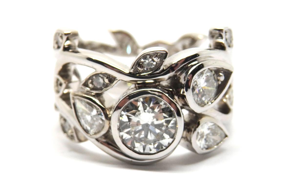 Nature inspired diamond dress ring